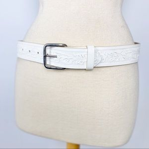White leather floral tooled belt 32